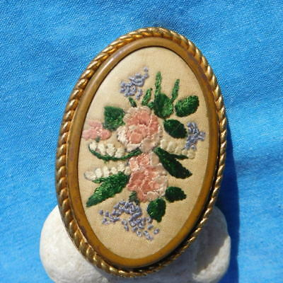 Beautiful antique vintage sewn tapestry brooch large vgc colourful hand sewn