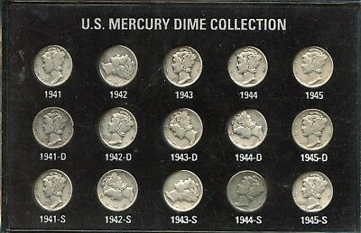 Amazing (15) United States Mercury Dime Set (15-Coin Collection) in Holder GR36