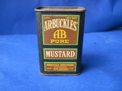 Antique Arbuckles AB Mustard Spice Tin Litho Vintage Country Store Old