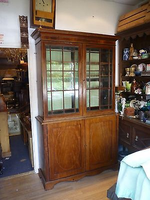 Fantastic Victorian Inlaid Glazed Bookcase With Cupboard Under