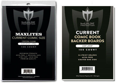100 Max Pro Maxlites Ultra Clear Premium Current Comic Bags and Boards Acid Free
