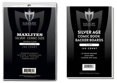 100 Max Pro Maxlite Ultra Clear Premium Silver Comic Bags and Boards Acid Free