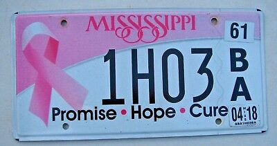 """Miss Cure Breast Cancer Hope Promise Auto License Plate """" 1H 03 """" Pink Ribbon In"""
