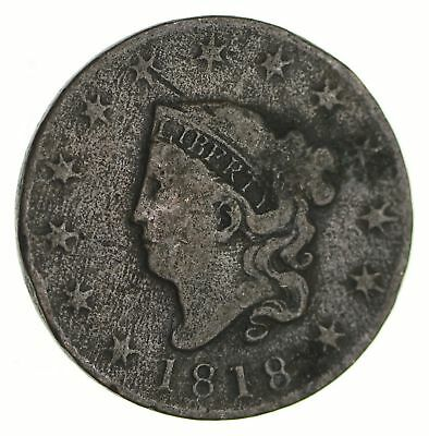 Tough - 1818 Large Cent - US Early Copper Coin *227