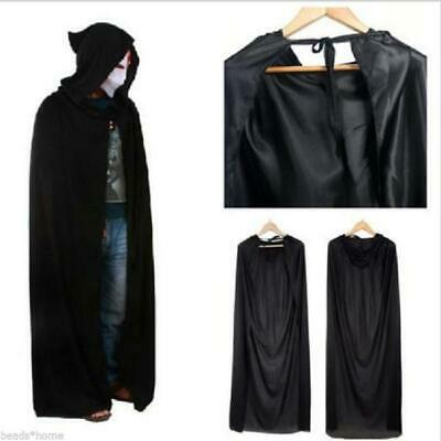 Adult Hooded Cloak Long Gothic Vampire Wicca Robe Larp Cape Cosplay Goth Y