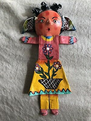 Coconut Shell Mask Doll With Body Handmade Mexican Folk Art Wall Hanging