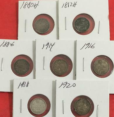 1880H-1920 Canada SILVER FIVE CENTS SEt of 7 Different CoinS!