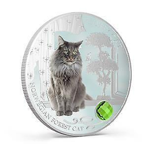 Fiji 2014 Dogs & Cats V Fluffy Cat - Norwegian Forest Cat 1 Oz Silver Proof Coin