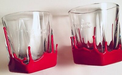 2 Makers Mark Red Wax Dipped Glasses