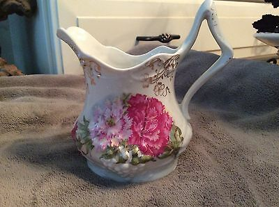 Pink & Magenta Carnations & Gold Accents  Antique Creamer Pitcher