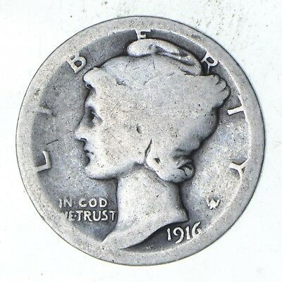 First Year - 1916 - Mercury Head Silver Dime - Tough *840