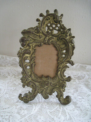 Vintage Solid Brass Ornate Kick Stand Picture Frame