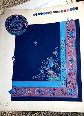 55 Painting Pages Antique Chinese Qing Book of Carpet or Designs