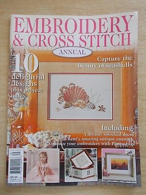 Embroidery & Cross Stitch Vol 15 #5~Smocking~Shells~Lampshade~Scarf~Butterflies