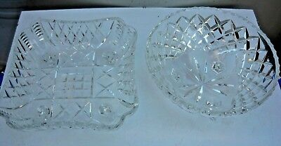 2 heavy lead crystal glass fruitbowls - 1 4-legs square 1 3-legs round. Xlt Cond