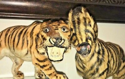 Lot of 2 Antique Vintage Real Fur Tiger Zebra Circus Toy Figurine Statues WOW!