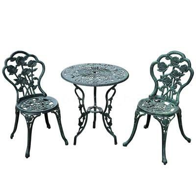 3 pc Outdoor Cast Iron Patio Furniture Antique Style Dining Chair & Table Q5P5