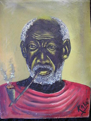 """SIGN.""""KABE"""" AFRICAN PORTRAIT*AFRICAN ART*EARLY 40/50s*RARE ORIGINAL OIL PAINTING"""