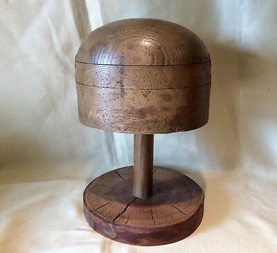 Vintage Beechwood Oval Hat Block On Stand