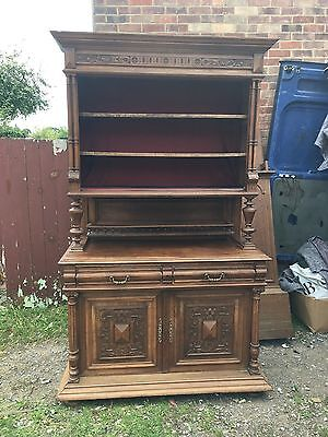 Impressive Victorian Carved Walnut Side Cabinet Or Bookcase