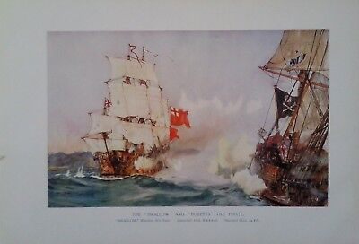 "1901 COLOUR PRINT THE ""SWALLOW"" AND ""ROBERTS"" THE PIRATE by CHARLES DIXON R.A"