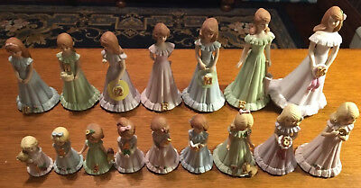 Enesco Growing Up Birthday Girls Complete Figurine Set 1-16 1982 blonde/brunette