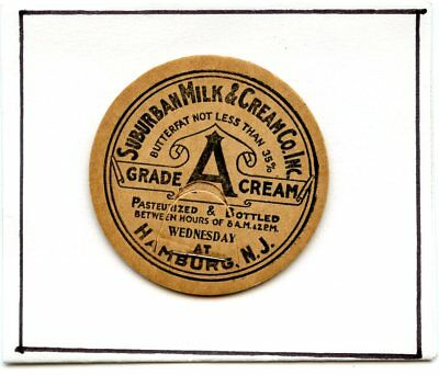 Milk Bottle Cap Suburban Milk & Cream Co., Hamburg, N.Y.