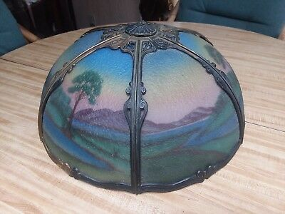 "c.1910 ANTIQUE 18"" REVERSE SCENIC PAINTED BENT PANEL LAMP SHADE TO RESTORE OLD"