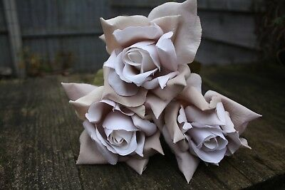 3 x PALE SHADED MOCHA COFFEE ARTIFICIAL SILK ROSES  10cm ON LONG WIRED STEMS