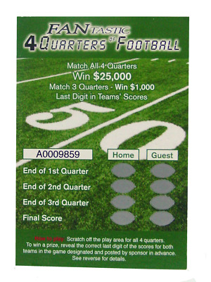 Scratch-Off Squares Fantastic Four Quarters of Football * WIN $25,000*  100 pack
