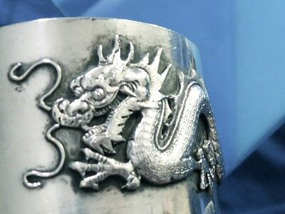 Antique Estate Silver Sterling Silver Chinese Export 1910 Dragon Napkin Ring