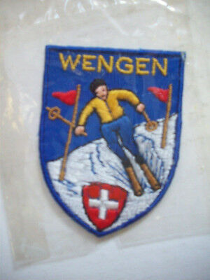 WENGEN SWITZERLAND TRAVEL SKIING PATCH UNUSED embroidered sew on