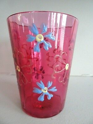 1880's Victorian Glass CRANBERRY Hand Painted Enameled PANELED Optic TUMBLER