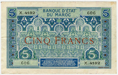 Morocco 1924 Issue 5 Francs Scarce Crisp Note Vf.pick#9.