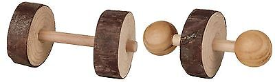 New - Trixie Natural Wood - Set of Dumbbells - Rabbit Guinea Pig Toy 6195