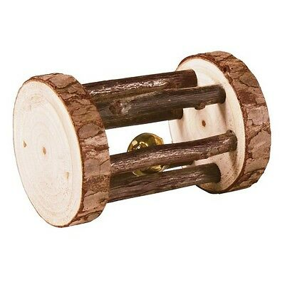 61654  Trixie Natural Wood - Play Roll With Bell - Rabbit Guinea Pig Toy