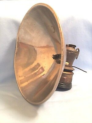 "AUTOLITE Miners Carbide Lamp w/ 7"" Reflector, Vintage Mining caving hunting"