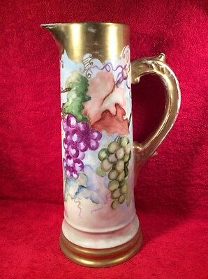 Antique Hand Painted 13.5 inch Tall Porcelain Tankard Grapes Leaves Gold c1880