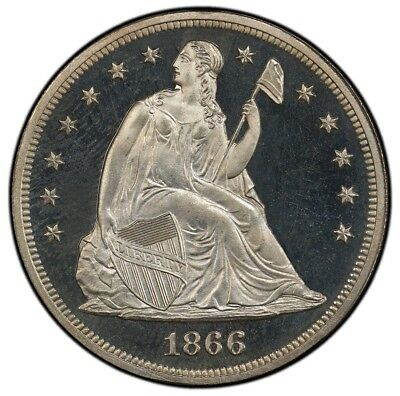 1866 $1 Motto Liberty Seated Dollar PCGS PR65DCAM