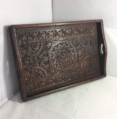 Vintage Detailed Deeply Hand Carved Solid Wood Anglo Indian Rectangular Tray