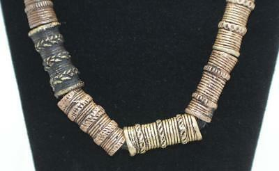 16 AFRICAN NIGERIAN BRONZE 34mm-45mm LONG TUBE TRADE BEADS on CLOTH NECKLACE