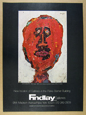 1973 Jean Dubuffet Tete Rouge red head painting Findlay Galleries vintage Ad