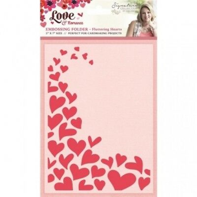 "SALE New Sara Davies  Embossing Folder 5"" x 7"" Fluttering Hearts"
