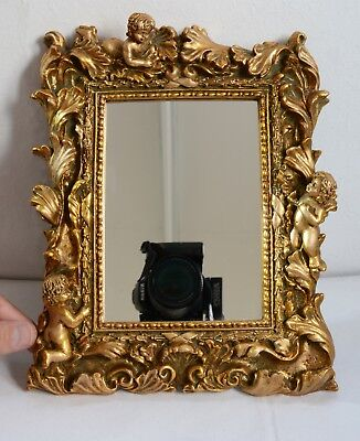 Highly Ornate Rococco Style Gilt Mirror. Freestanding or Wall Mount. 26 x 21.5cm