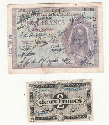 2 Algerian banknotes from 1944. Covered in military autographs