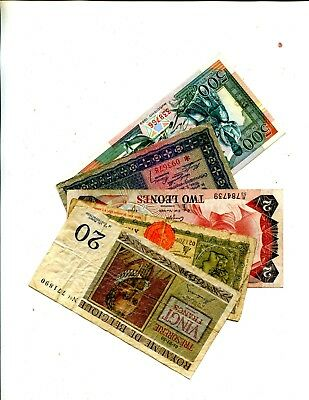 Belgium Plus 4 Other Different Foreign Banknotes Vg Or Better 3.95