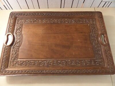 "LOVELY HAND CARVED ANTIQUE WOODEN TRAY, 18"" x 12"" IN GREAT OVERALL CONDITION"