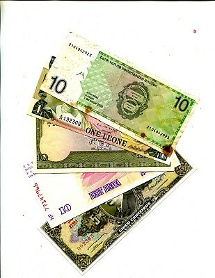 Netherlands Antilles 10 G Plus 4 Other Diff Foreign Banknotes Vg Or Better 3.95