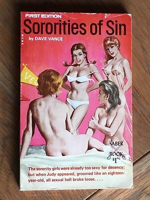 Sororities of Sin - Dave Vance US sleaze vintage adult paperback 1969 Saber Book