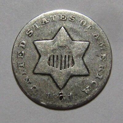1851 Three Cent Silver - Circulated Condition - 38SA